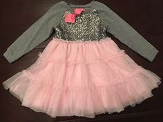NEW! Girl's ISAAC MIZRAHI New York pink Gray Sequin Sparkle Tutu Dress Size 3 T