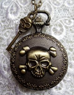 Skull and crossbones pocket watch pendant
