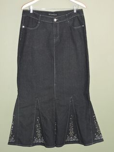 Fashionable Long Black Embroidered Denim Stretch Skirt Sz 15/16 NWT #Other #LongSkirt