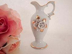 Urn Bud Vase White Porcelain Vase Applied Porcelain Flowers