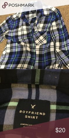 American Eagle Flannel This super soft, light weight flannel is great for all times of the year. It fits loosely making it great for layering. It's also in great shape with just a little wear on the elbows. American Eagle Outfitters Tops
