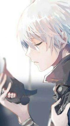 Kaneki Ken, mask, ghoul, white hair, sad; Tokyo Ghoul