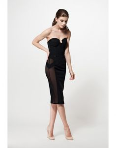 This sleek, satin dress by MURMUR is a contemporary take on a timeless classic. Traditional hand crafted balconette cups, cinched waist and pencil style skirt c Satin Dresses, Strapless Dress Formal, Formal Dresses, Skirt Fashion, High Fashion, Womens Fashion, Glamour Lingerie, Frack, Pencil Dress