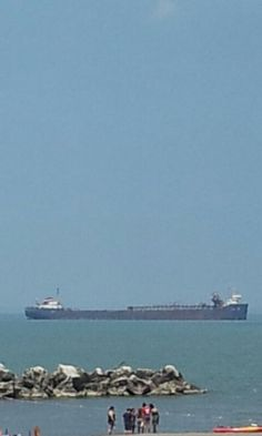 Big ships out on Lake... Lake Erie Cleveland Ohio