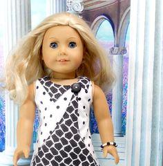 American Girl Doll Black and White Dress Polka by MegOrisDolls, $22.00