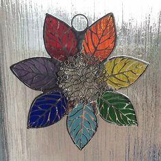 Hand Made Stained Glass Rainbow Leaf Suncatcher Making Stained Glass, Bud Vases, Suncatchers, Fused Glass, Rainbow Colors, Mosaic, Leaves, Handmade, Ebay