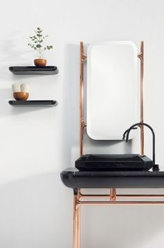 Ambiente Black & Copper, proposta da Bisazza Bagno, lançada na última edição do Salão do Móvel, em Milão.
