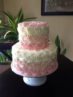 Ombré Swirly Rose Baby Shower Cake