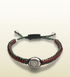 woven leather bracelet with gucci crest tag