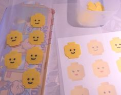 Lego head cupcakes - pipe melted yellow Candy Melts onto wax paper with a picture guide underneath.