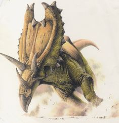 A Marshall Cavendish encyclopaedia illustration. I was always really happy with this one. I really wanted to do a ceratopsid charging at full tilt so employed my usual philosophy: Hard angle on the...