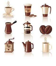 Set of vector coffee logos templates for your cafe branding with some coffee beans, coffee cups, grinders and kettles. Coffee Icon, Coffee Logo, Coffee Cafe, Coffee Clipart, Coffee Vector, Latte, Uses For Coffee Grounds, Coffee Theme, Food Drawing