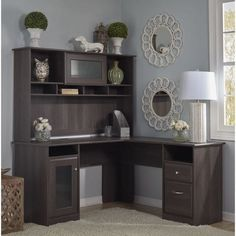 Cabot L Shaped Desk with Hutch