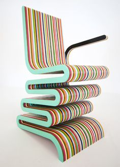 Smith the Second is a multi-colored laminated beech chair by UK furniture designer Anthony Hartley. It's so colorful that reminds of some giant piece of candy. The chair is manufactured of colored beech wood with a high-gloss . Unusual Furniture, Funky Furniture, Design Furniture, Colorful Chairs, Cool Chairs, Lounge Chairs, Table Design, Chair Design, Striped Chair