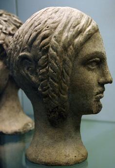 Votive bust of a woman. Terracotta. 300–200 BC. Sculpted in Cerveteri. Etruscan art. British Museum. London