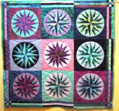 Quilted Wall Hanging Batik Mariners Compass