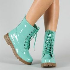 Shiny Mint Green Combat Boots Mid Calf Military Lace Up Pretty Fashion Trendy. I have always wanted to try combat boots!