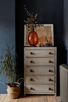 Remodeled London Industrial Scandi Home Wardrobe Door Handles, Vintage Sideboard, Home, Ikea Home, Slate Fireplace, John Lewis Bedding, Wall Lights Living Room, White Bedroom Chair, Dresser As Nightstand