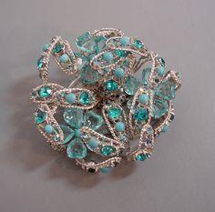 Demario aqua rhinestones and beads flowers brooch