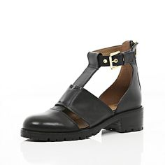 Black cut out cleated sole ankle boots #riverisland