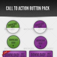 Buy Call to Action Web Button Pack by jmalleck on GraphicRiver. A set of call to action buttons. 3 different styles. 2 color schemes: green and purple. Corporate Website Templates, Call To Action, Green And Purple, Flyer Design, Different Styles, Ecommerce, Color Schemes, Packing