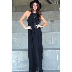 Highneck Pleated Maxi Dress-Black | Obsezz