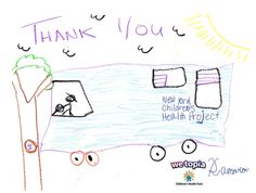 Joy given in WeTopia sends medical care to kids in need in NYC! Kamara (age 10) says thank you with a beautiful picture of the big blue bus!