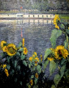 Gustave Caillebotte - Sunflowers along the Seine, 1886 at the Legion of Honor (Fine Arts Museums of San Francisco CA) (by mbell1975)