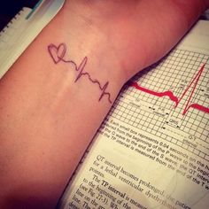 Baby's first heartbeat as tatoo on hip instead