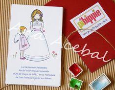 Diseño de Recordatorios de Primera Comunión, Marca paginas, libros de Comunión y regalos por Ana Acebal