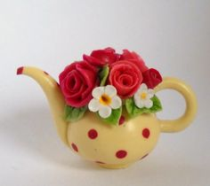 1/12TH scale  FLOWERS AND DOTS COLLECTION   TEAPOT NR 27  by 64tnt