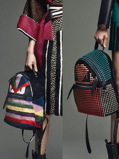 Breaking Trends Pre-Fall 2015: Fendi's Fun Bags. From little monsters on ladylike satchels to colored balls on backpacks to plaid fur, Karl Lagerfeld continues to have fun at Fendi. Fur sneakers, fur bracelets and more round out the mix.