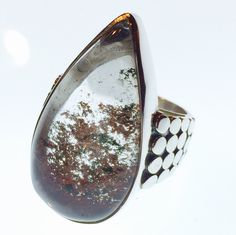 Sterling silver teardrop lodolite ring. Autumn tones unique and classic design.