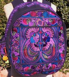 Hand-embroidered, fair trade backpack made by Hmong women in Thailand.
