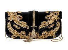 Marchesa .Black and Gold HandBag. Beautiful... Marchesa, Fashion Bags, Fashion Accessories, Black Gold Jewelry, Black Clutch, Baroque Fashion, Vintage Purses, Beaded Bags, Beautiful Bags