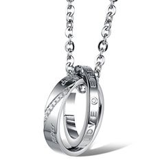 Eternal Love Never Change Engraved Design Lover Couple Stainless Steel 2 Cross Rings Pendant Necklace (Female Style) - Brought to you by Avarsha.com