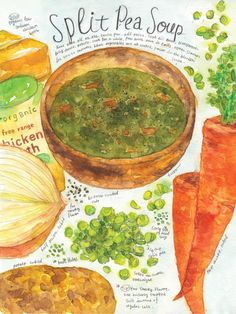 Split pea soup. Print of original watercolor illustration.  Image is about 7.5(W) x 10(H) inch, centered in a letter size 8.5(W) x 11(H) inch paper. It