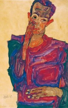 Egon Schiele, 1910, Self portrait with down-pulled lower lid, chalk, brush, watercolours, bodycolours, on brown packing paper. © Albertina, Vienna