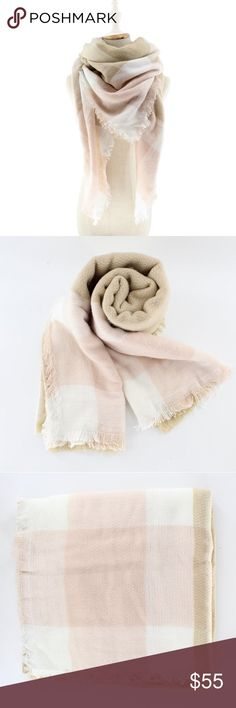 """Blush and Cream Ultra Plush Blanket Scarf A huge, cuddly scarf perfect for sweater weather in a neutral, beige, cream, and sandy blush palette. Wear as a wrap, shawl, scarf, or a small throw blanket.  55"""" x 55""""  ❌ Sorry, no trades.  plaid blanket scarf  fairlygirly fairlygirly Accessories Scarves & Wraps"""