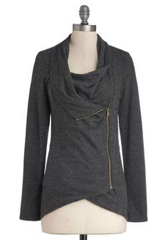 Airport Greeting Cardigan in Charcoal - ModCloth - it actually is great for the airport with leggings and ankle boots that slip on and off easily.