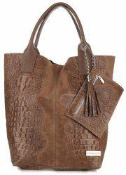Kožené Kabelky VITTORIA GOTI Made in Italy Shopperbag Aligator zemitá cc09b0a88cc