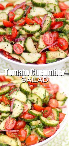 Great Salad Recipes, Tomato Salad Recipes, Potluck Recipes, Healthy Salad Recipes, Vegetable Recipes, Vegetarian Recipes, Cooking Recipes, Healthy Foods, Yummy Recipes