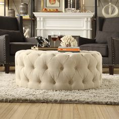 Signal Hills Knightsbridge Round Tufted Cocktail Ottoman with Casters ($370) ❤ liked on Polyvore featuring home, furniture, ottomans, beige, round footstool, tufted coffee table ottoman, tribecca home, round ottoman and tufted ottoman