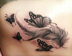 Tattoos And Body Art tattoo kits Feather Tattoo Design, Butterfly Tattoo Designs, Feather Tattoos, Tattoo Designs For Women, Tattoos For Women Small, Small Tattoos, Flower Tattoos, Butterfly Foot Tattoo, Small Feather Tattoo