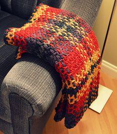 Ravelry: dakota196's Tartan / plaid crochet blanket /afghan.. made from the free pattern.. (warm orange, wine red, burgundy, dark jewel blue, dark gray)