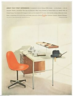 1957 @hermanmiller Executive Office ad showing #Eames Upholstered Wire Chair with full one piece orange pad