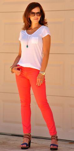 Coral Jeans White Te
