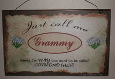 Just Call Me GRAMMY  I'm Way Too COOL For Grandmother SIGN 8 x 5 Grandparent Wall Plaque