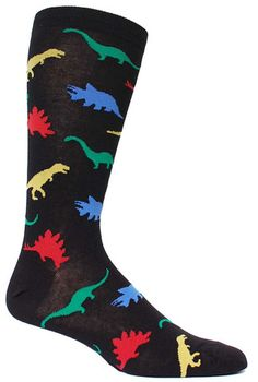 Crew length sock with dinosaurs in different colors. Available in black or navy.  * Available in King Size, which fits a men's shoe size 13-17.  Fits men's shoe size 8-12.5.