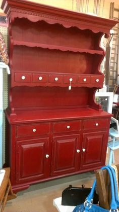 Old Vintage Wood Country Primitive Red Ethan Allen Kitchen Cabinet Hutch Buffet